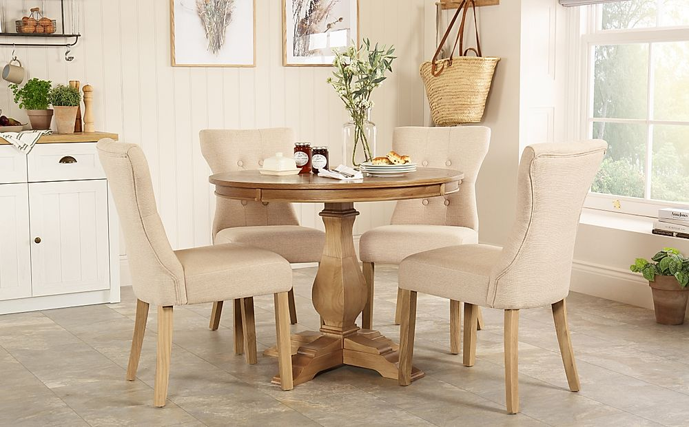 Cavendish Round Oak Dining Table with 4 Bewley Oatmeal Chairs