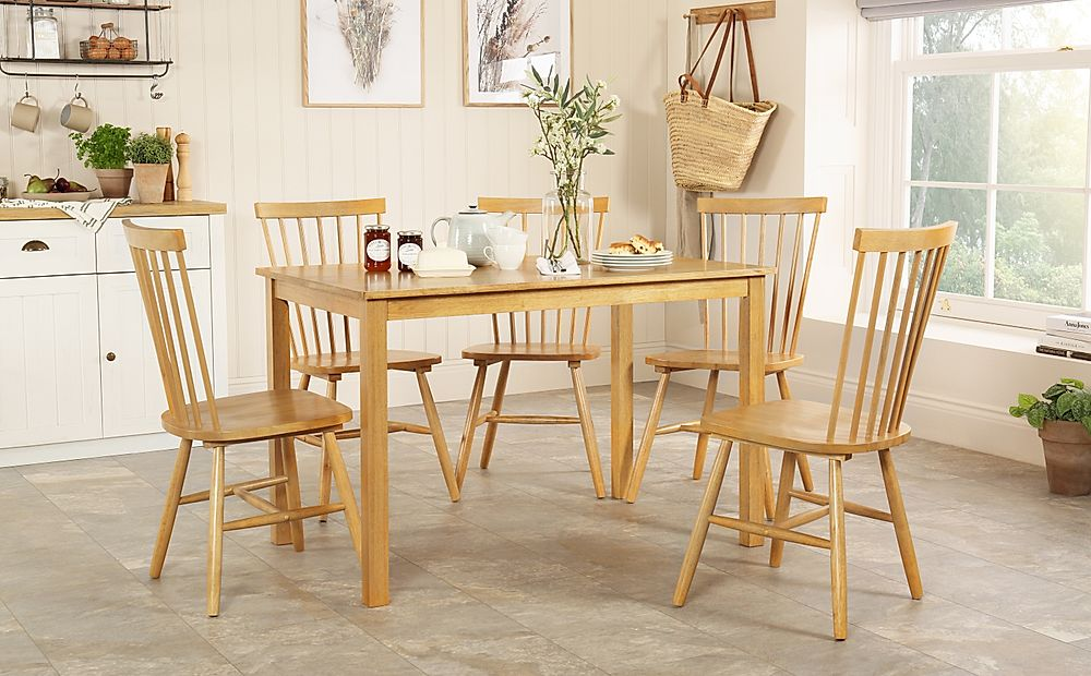Milton Oak Dining Table with 4 Pendle Chairs