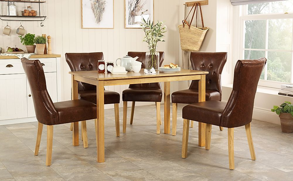 Milton Oak Dining Table with 4 Bewley Club Brown Leather Chairs