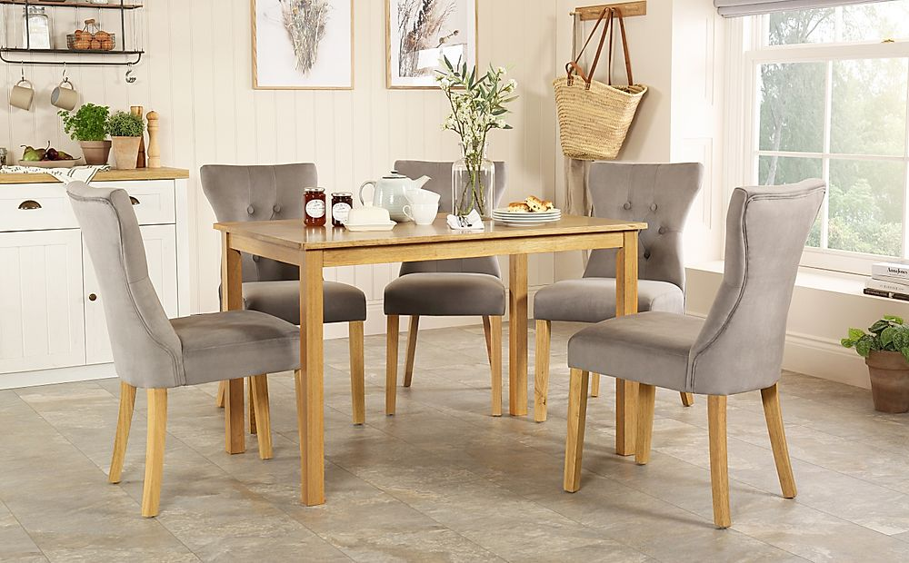 Milton Oak Dining Table with 4 Bewley Grey Velvet Chairs