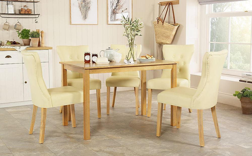 Milton Oak Dining Table with 6 Bewley Ivory Leather Chairs