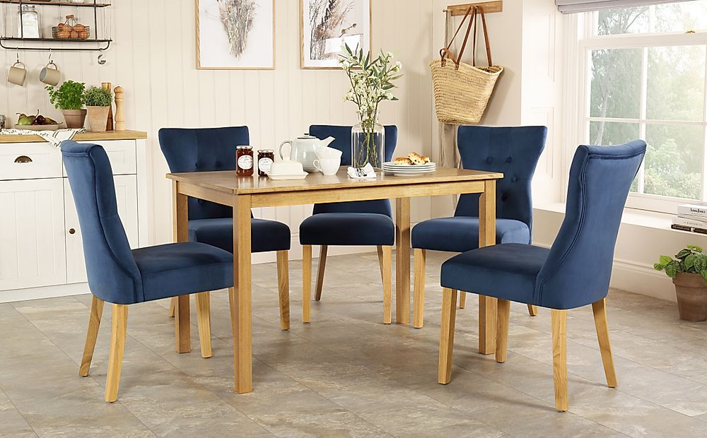 Milton Oak Dining Table with 6 Bewley Blue Velvet Chairs