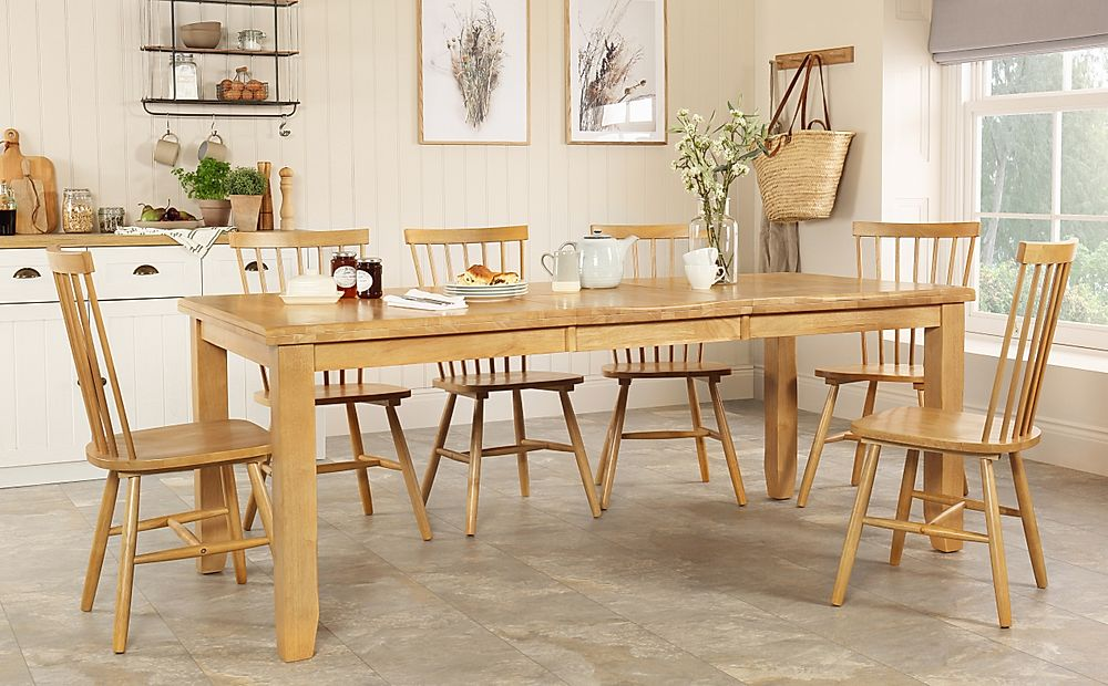 Highbury Oak Extending Dining Table with 6 Pendle Chairs