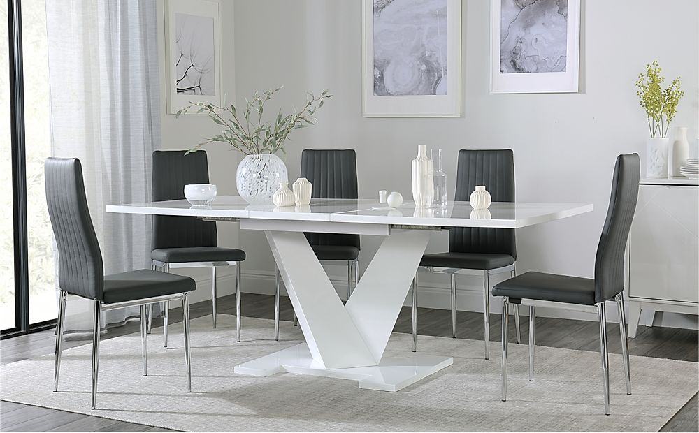 Turin White High Gloss Extending Dining Table with 8 Leon Grey Dining Chairs
