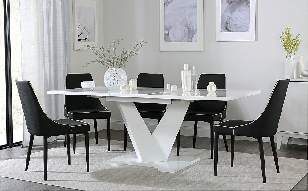 Turin White High Gloss Extending Dining Table with 8 Modena Black Fabric Chairs