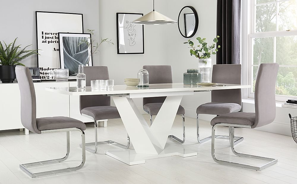 Turin White High Gloss Extending Dining Table with 8 Perth Grey Velvet Chairs