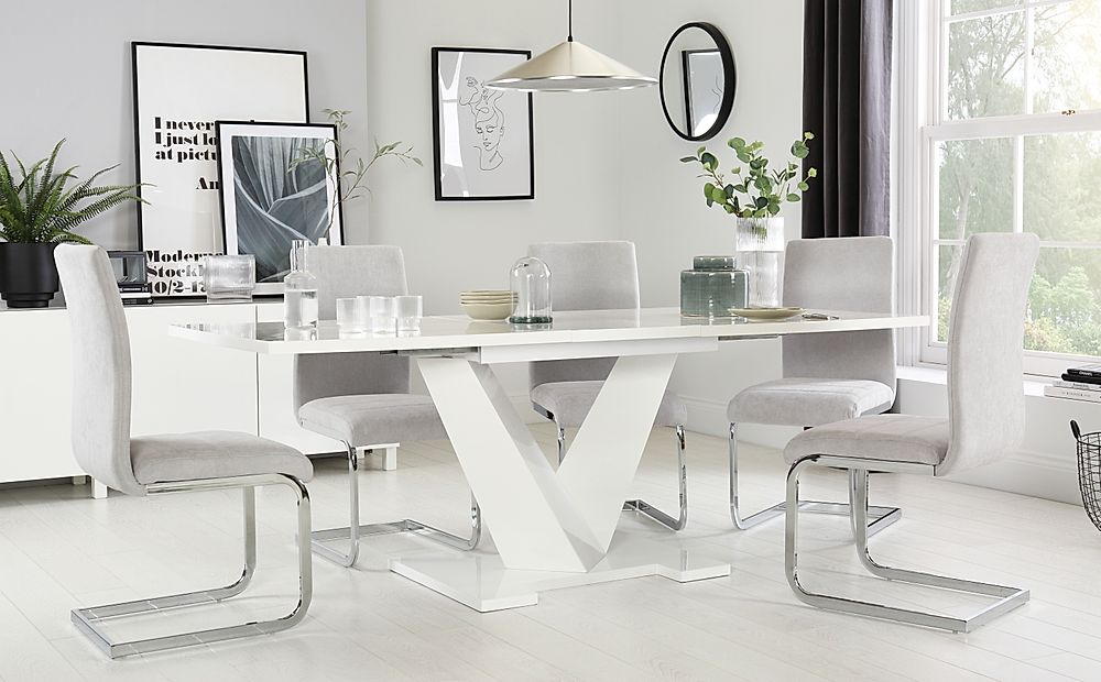 Turin White High Gloss Extending Dining Table with 8 Perth Dove Grey Fabric Chairs