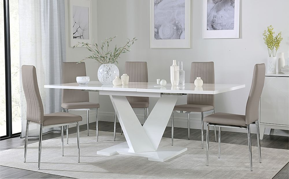 Turin White High Gloss Extending Dining Table with 8 Leon Taupe Dining Chairs