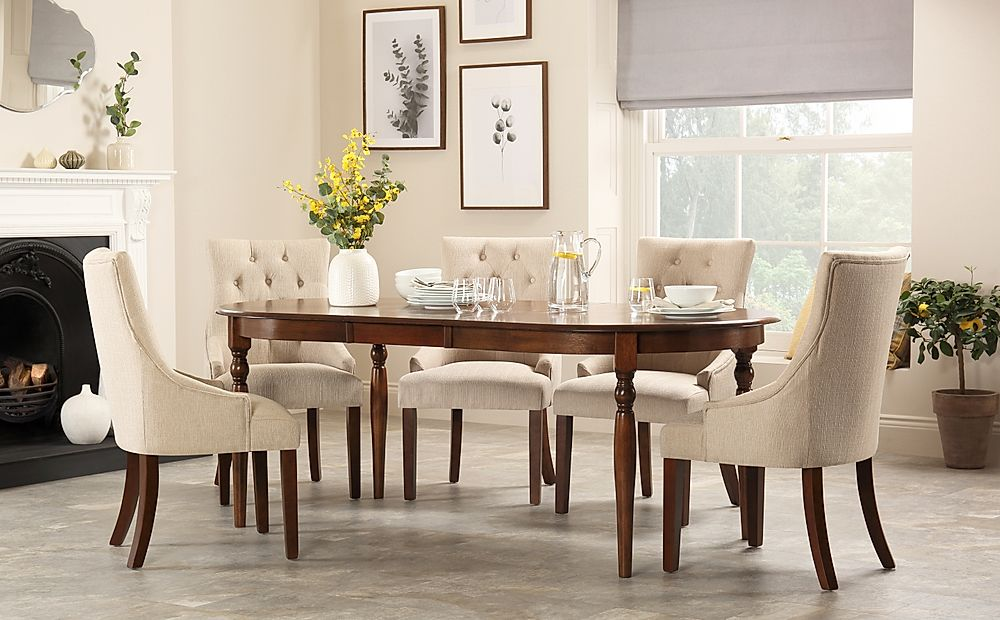 Albany Oval Dark Wood Extending Dining Table with 6 Duke Oatmeal Chairs