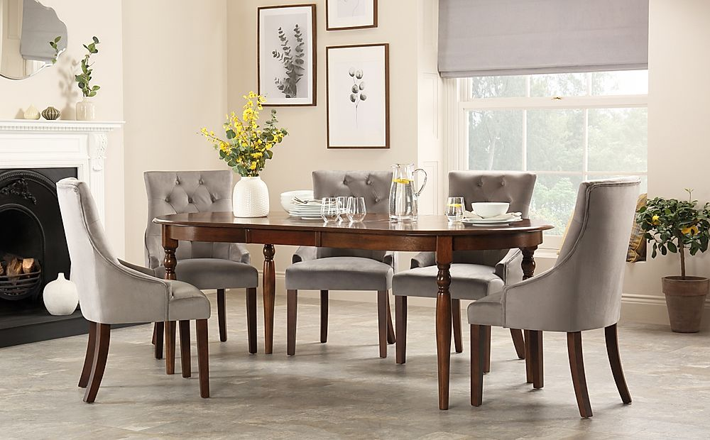 Albany Oval Dark Wood Extending Dining Table with 4 Duke Grey Velvet Chairs