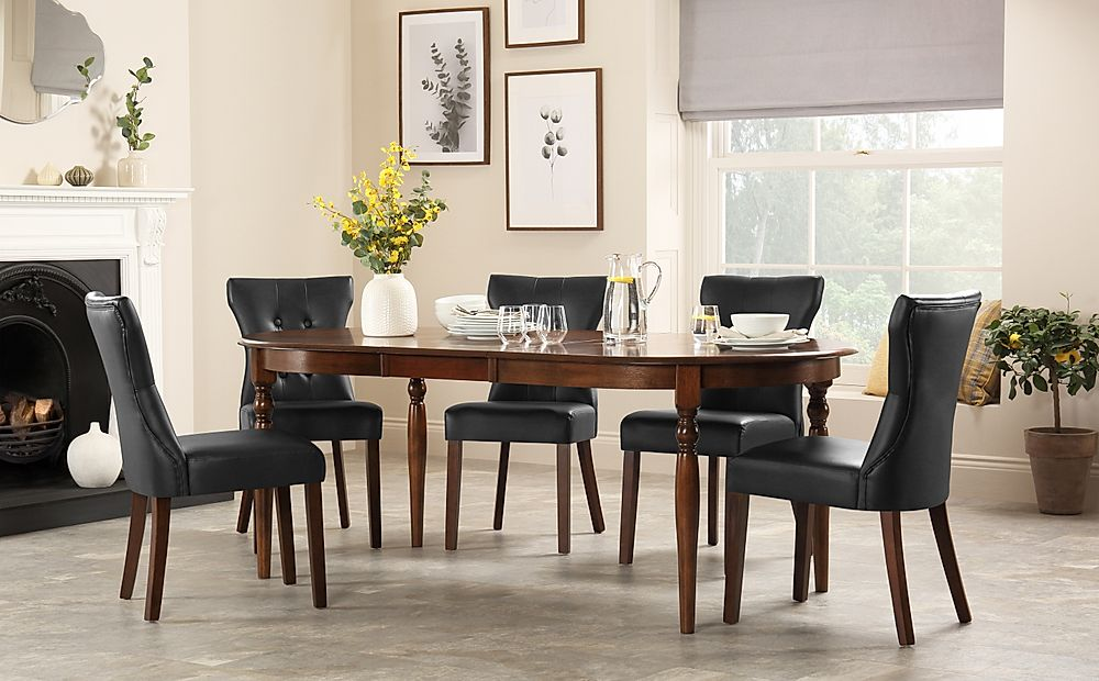 Albany Oval Dark Wood Extending Dining Table with 6 Bewley Black Chairs