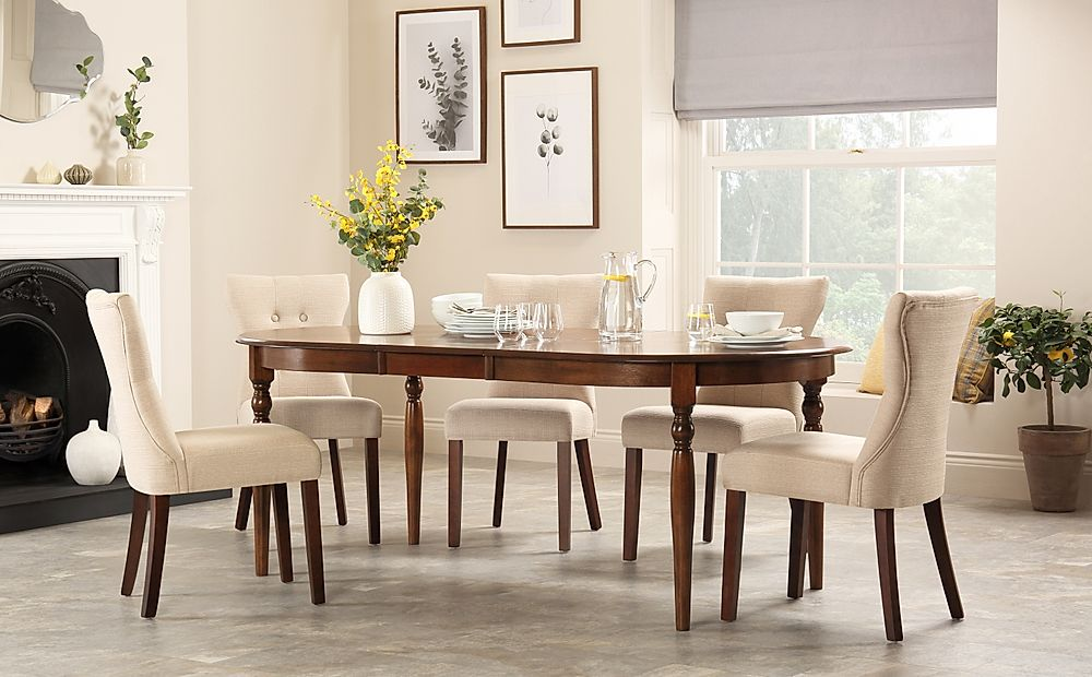 Albany Oval Dark Wood Extending Dining Table with 6 Bewley Oatmeal Chairs