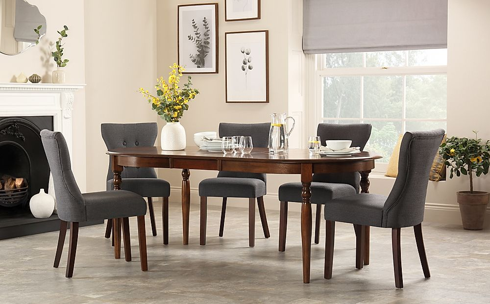 Albany Oval Dark Wood Extending Dining Table with 8 Bewley Slate Chairs