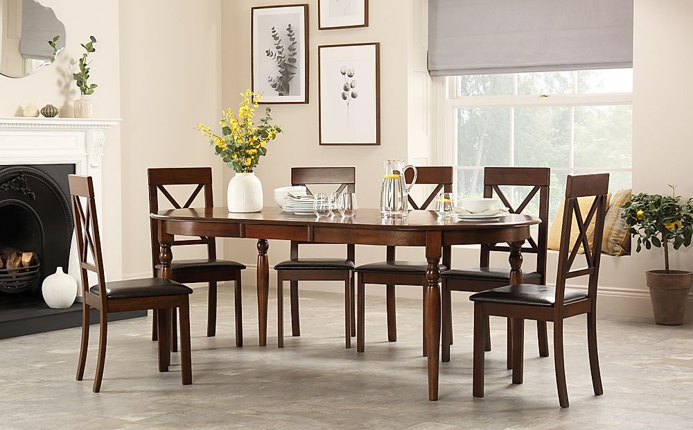 Albany Oval Dark Wood Extending Dining Table with 8 Kendal Chairs (Brown Seat Pad)