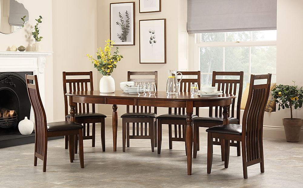 Albany Oval Dark Wood Extending Dining Table with 6 Java Chairs (Brown Seat Pad)