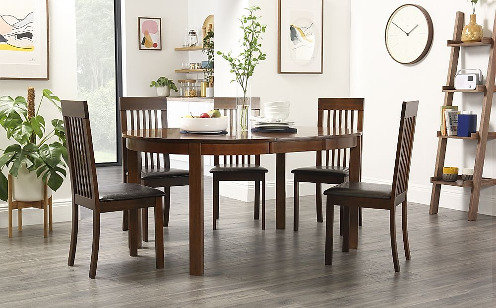 Marlborough Round Dark Wood Extending Dining Table with 6 Oxford Chairs (Brown Seat Pad)