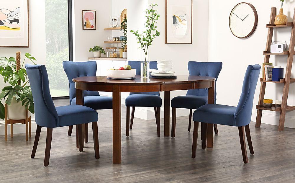 Marlborough Round Dark Wood Extending Dining Table with 4 Bewley Blue Velvet Chairs