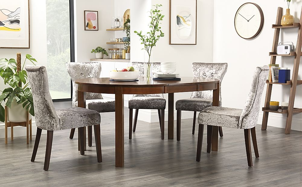 Marlborough Round Dark Wood Extending Dining Table with 6 Bewley Silver Velvet Chairs