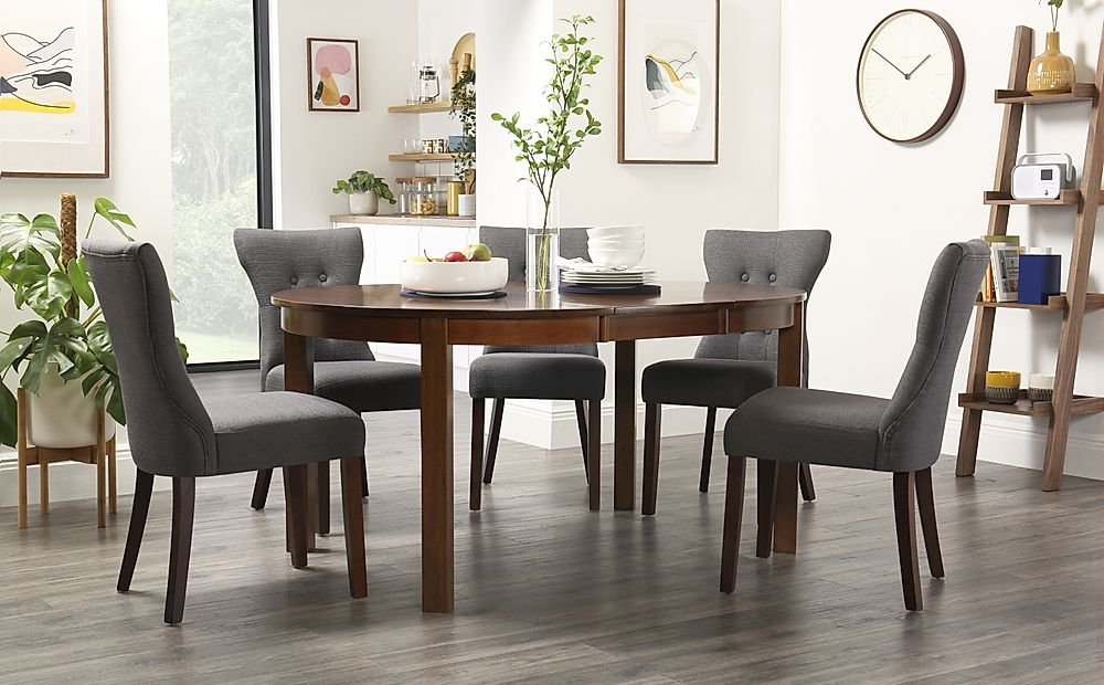 Marlborough Round Dark Wood Extending Dining Table with 4 Bewley Slate Chairs