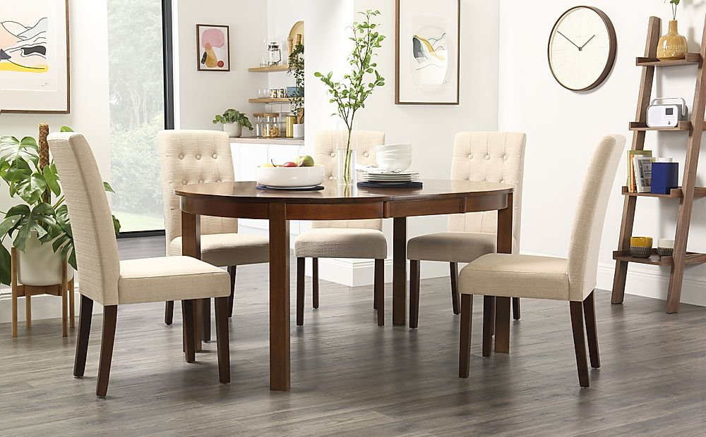 Marlborough Round Dark Wood Extending Dining Table with 4 Regent Oatmeal Chairs
