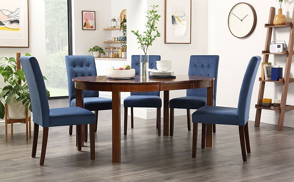 Marlborough Round Dark Wood Extending Dining Table with 4 Regent Blue Velvet Chairs