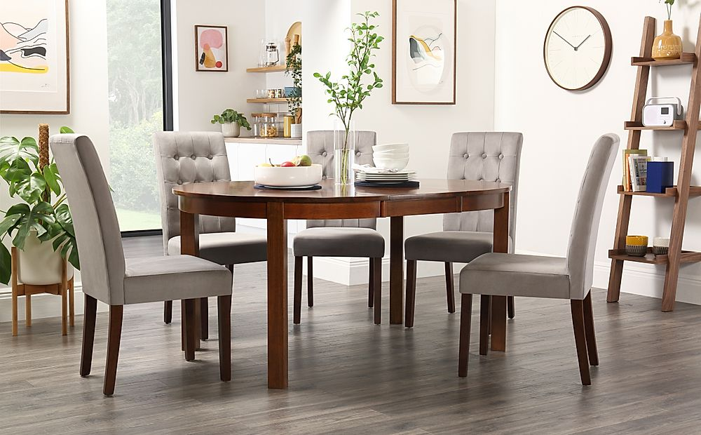 Marlborough Round Dark Wood Extending Dining Table with 4 Regent Grey Velvet Chairs