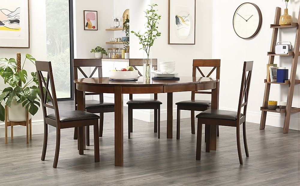 Marlborough Round Dark Wood Extending Dining Table with 6 Kendal Chairs