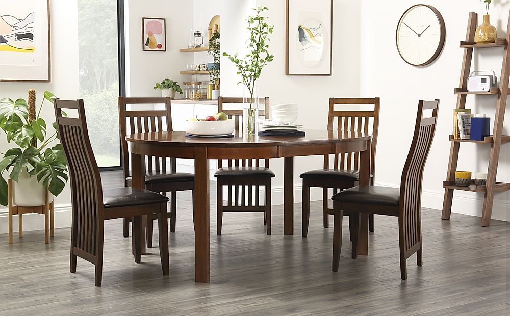 Marlborough Round Dark Wood Extending Dining Table with 4 Java Chairs