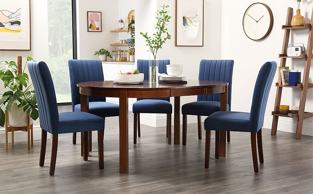 Marlborough Round Dark Wood Extending Dining Table with 4 Salisbury Blue Chairs