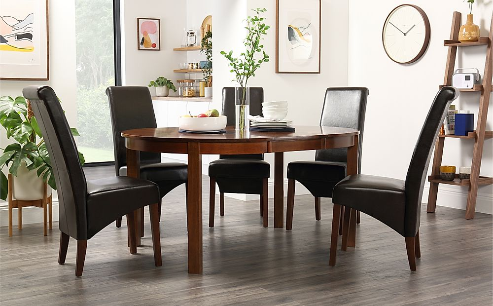 Marlborough Round Dark Wood Extending Dining Table with 6 Boston Brown Chairs