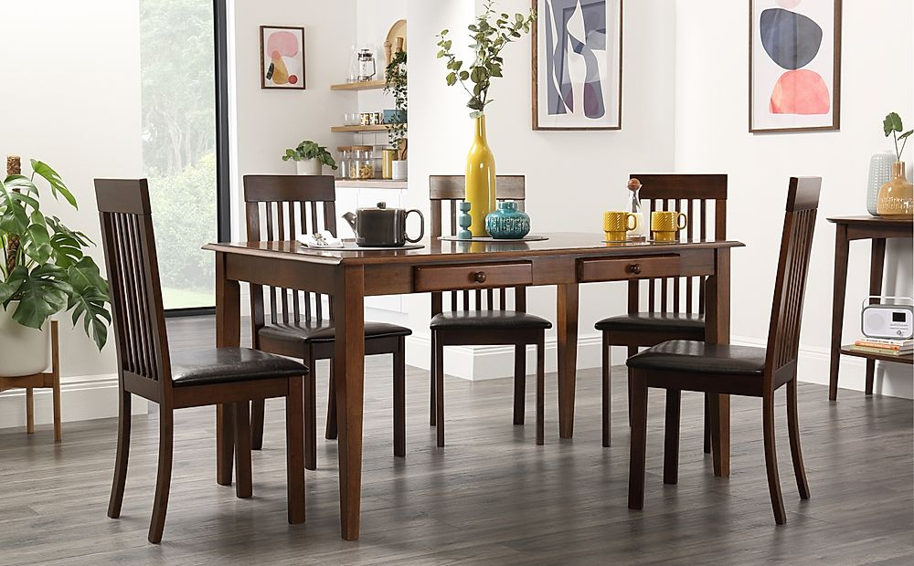 Wiltshire Dark Wood Dining Table with Storage with 4 Oxford Chairs (Brown Seat Pad)