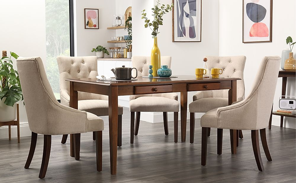 Wiltshire Dark Wood Dining Table with Storage with 4 Duke Oatmeal Chairs