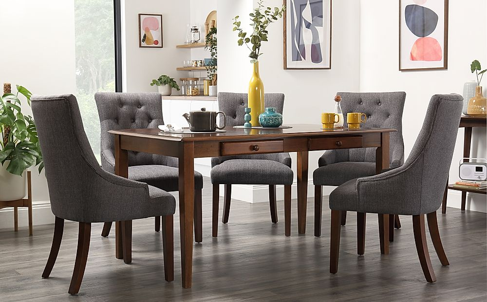 Wiltshire Dark Wood Dining Table with Storage with 4 Duke Slate Chairs