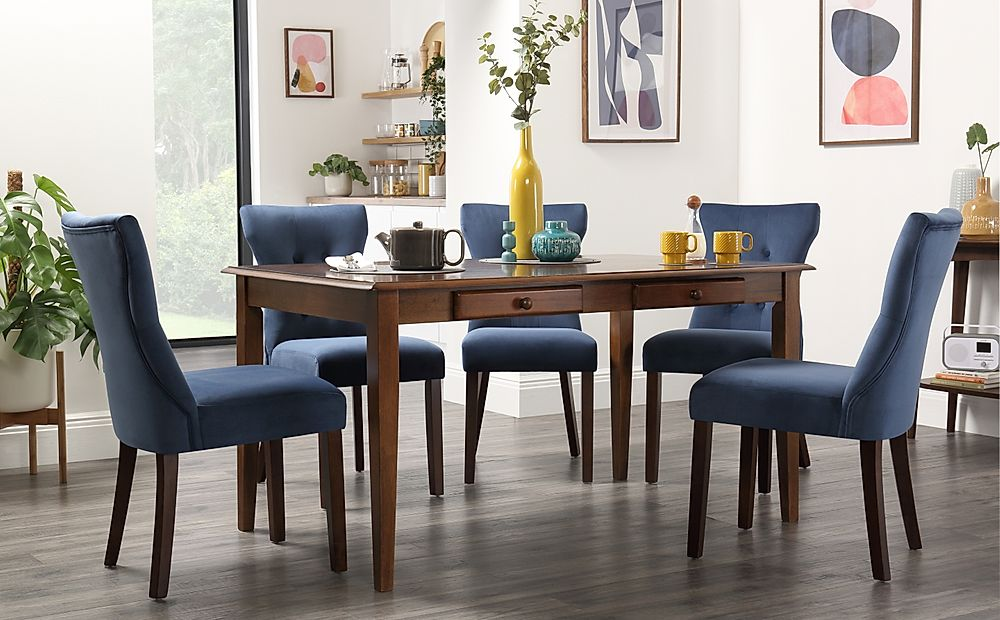 Wiltshire Dark Wood Dining Table with Storage with 4 Bewley Blue Velvet Chairs