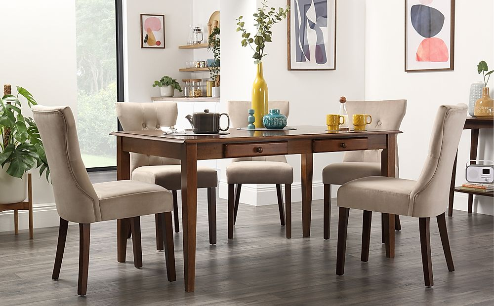 Wiltshire Dark Wood Dining Table with Storage with 4 Bewley Mink Velvet Chairs