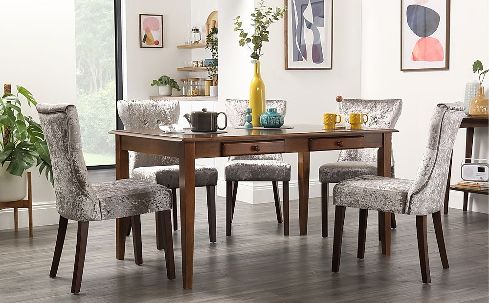 Wiltshire Dark Wood Dining Table with Storage with 6 Bewley Silver Velvet Chairs
