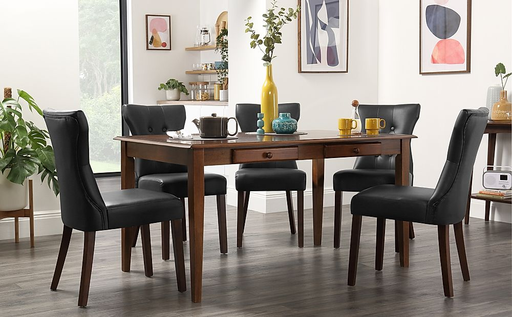 Wiltshire Dark Wood Dining Table with Storage with 6 Bewley Black Chairs