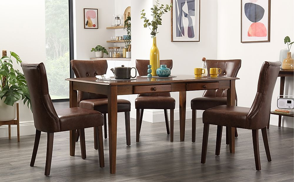 Wiltshire Dark Wood Dining Table with Storage with 6 Bewley Club Brown Chairs