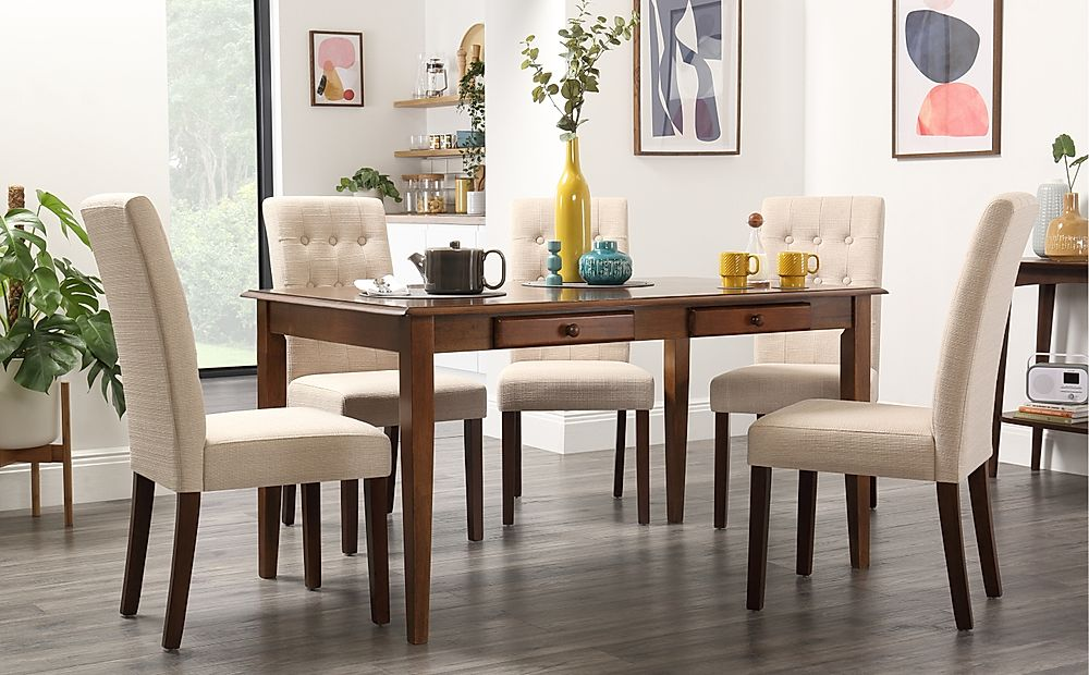 Wiltshire Dark Wood Dining Table with Storage with 4 Regent Oatmeal Chairs