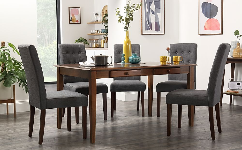 Wiltshire Dark Wood Dining Table with Storage with 4 Regent Slate Chairs