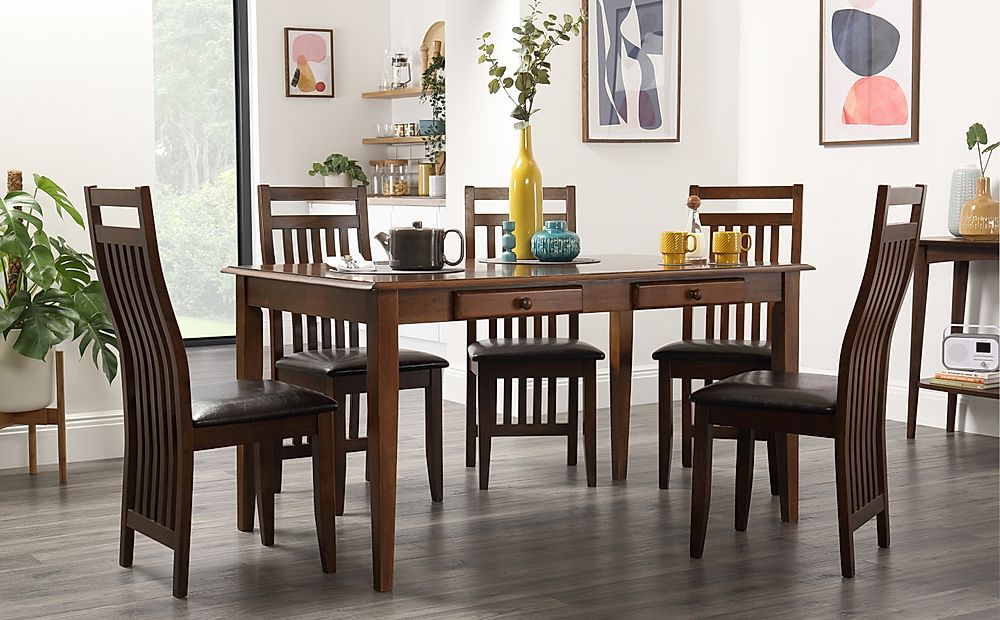 Wiltshire Dark Wood Dining Table with Storage with 4 Java Chairs