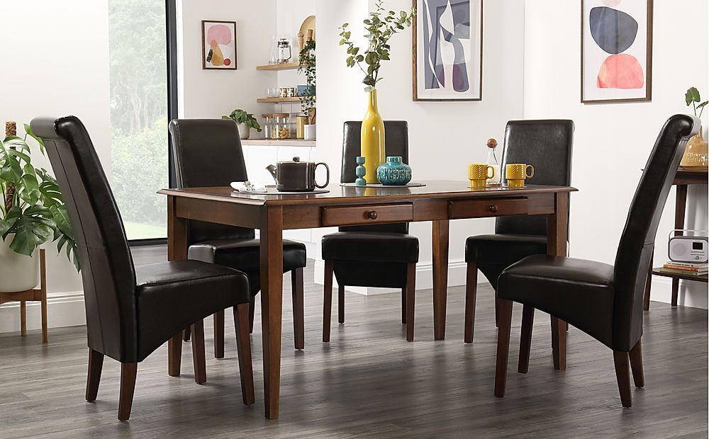 Wiltshire Dark Wood Dining Table with Storage with 6 Boston Brown Chairs