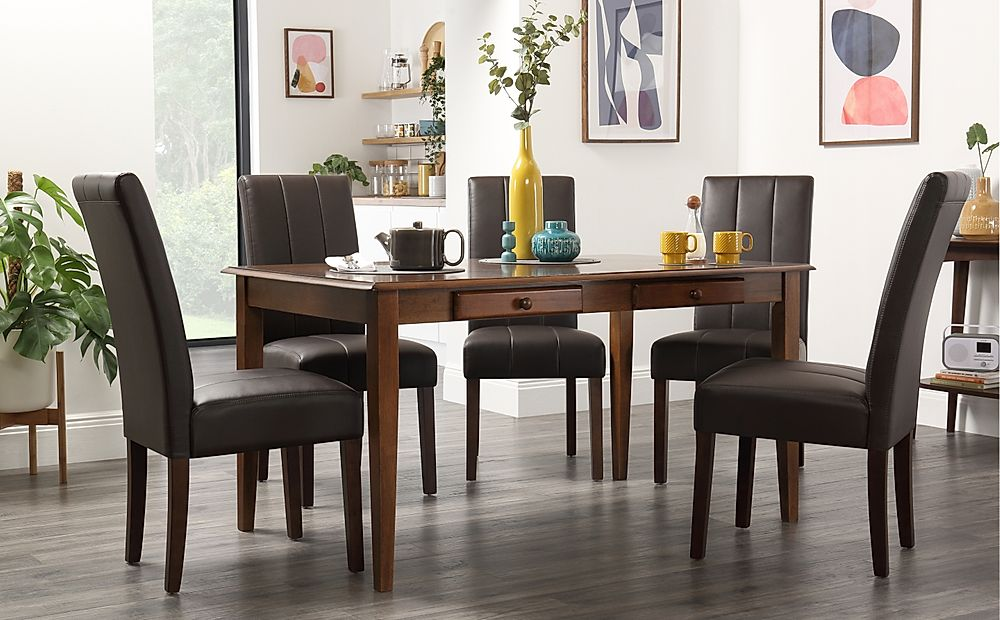 Wiltshire Dark Wood Dining Table with Storage with 6 Carrick Brown Chairs