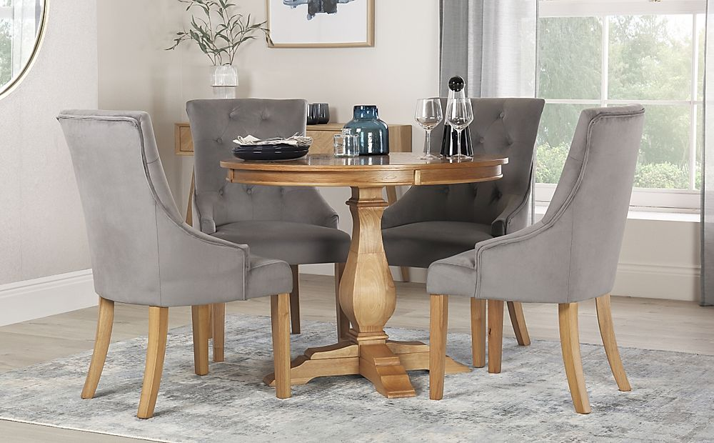 Cavendish Round Oak Dining Table with 4 Duke Grey Velvet Chairs