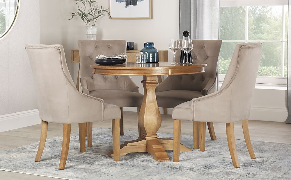 Cavendish Round Oak Dining Table with 4 Duke Mink Velvet Chairs