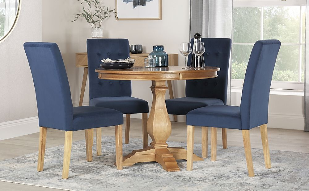 Cavendish Round Oak Dining Table with 4 Regent Blue Velvet Chairs
