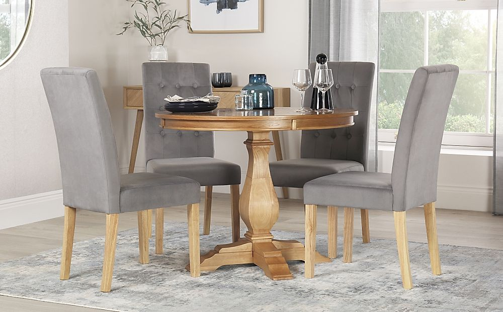 Cavendish Round Oak Dining Table with 4 Regent Grey Velvet Chairs