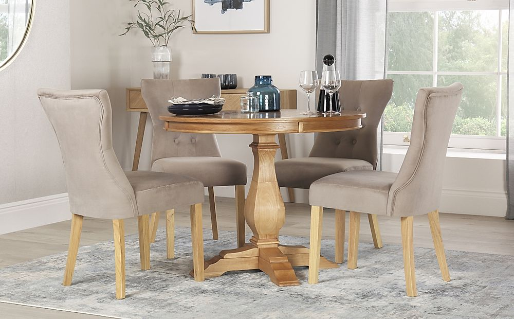 Cavendish Round Oak Dining Table with 4 Bewley Mink Velvet Chairs