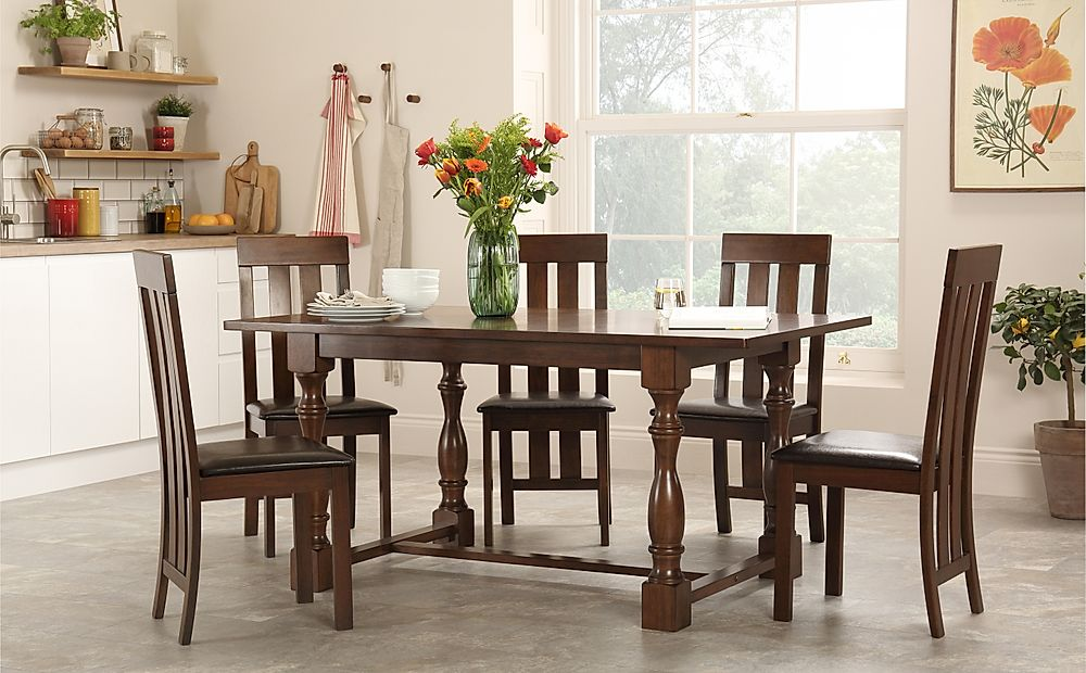 Awe Inspiring Details About Devonshire Dark Wood Dining Table With 4 6 Chester Chairs Brown Seat Pad Best Image Libraries Thycampuscom