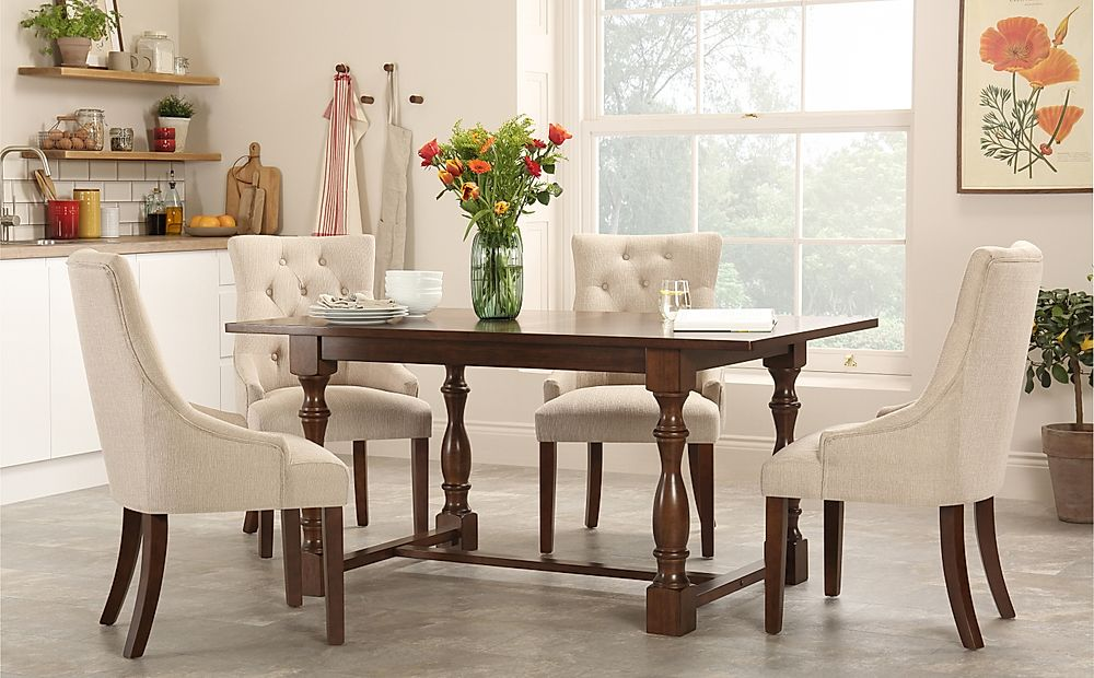 Devonshire Dark Wood Dining Table with 4 Duke Oatmeal Chairs